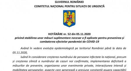 HOTĂRÂRE nr. 52 din 05.11.2020 privind stabilirea unor măsuri suplimentare necesar a fi aplicate pentru prevenirea și combaterea efectelor pandemiei de COVID-19