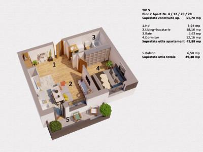Apartament 2 camere etaj 2 intermediar de vanzare  in Selimbar zona Ion Ratiu