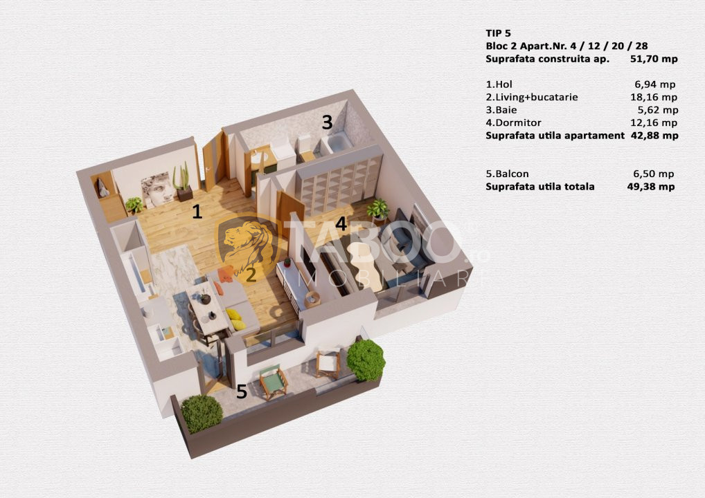 Apartament 2 camere etaj 2 intermediar de vanzare  in Selimbar zona Ion Ratiu  1