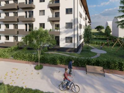 Apartament in Selimbar de vanzare cu 2 camere si gradina de 55 mp