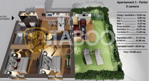 Apartament de vanzare 3 camere  terasa Alba Iulia Sibiu COMISION 0% 1