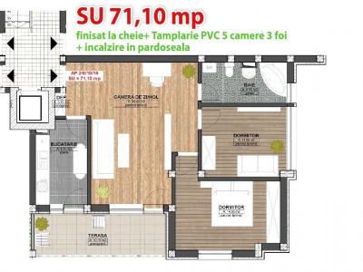 Apartament cu 3 camere de vanzare in cartierul Kogalniceanu Sibiu