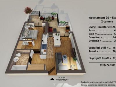 Apartament 2 camere etaj retras si terasa de vanzare Turnisor Sibiu