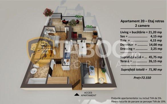 Apartament 2 camere etaj retras si terasa de vanzare Turnisor Sibiu 1