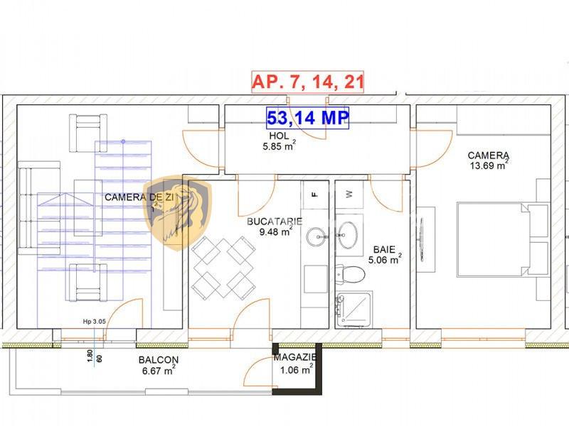 Apartament 2 camere 53,14 mp utili etaj 2 de vanzare Selimbar Sibiu 1