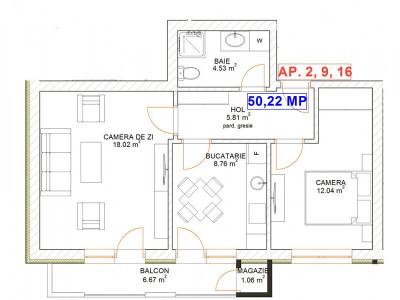 Apartament 2 camere decomandat confort 1 de vanzare Selimbar Sibiu