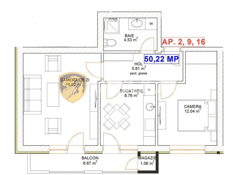 Apartament 2 camere decomandat confort 1 de vanzare Selimbar Sibiu 1