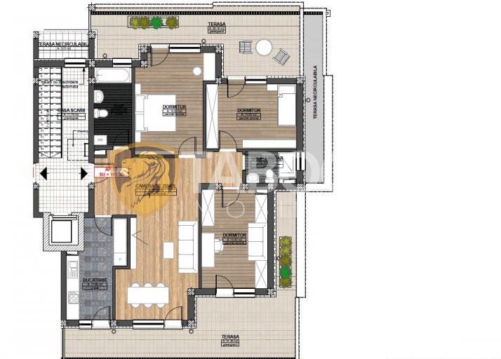 Penthouse 4 camere 2 bai 2 terase incalzire pardoseala parcare Sibiu 4